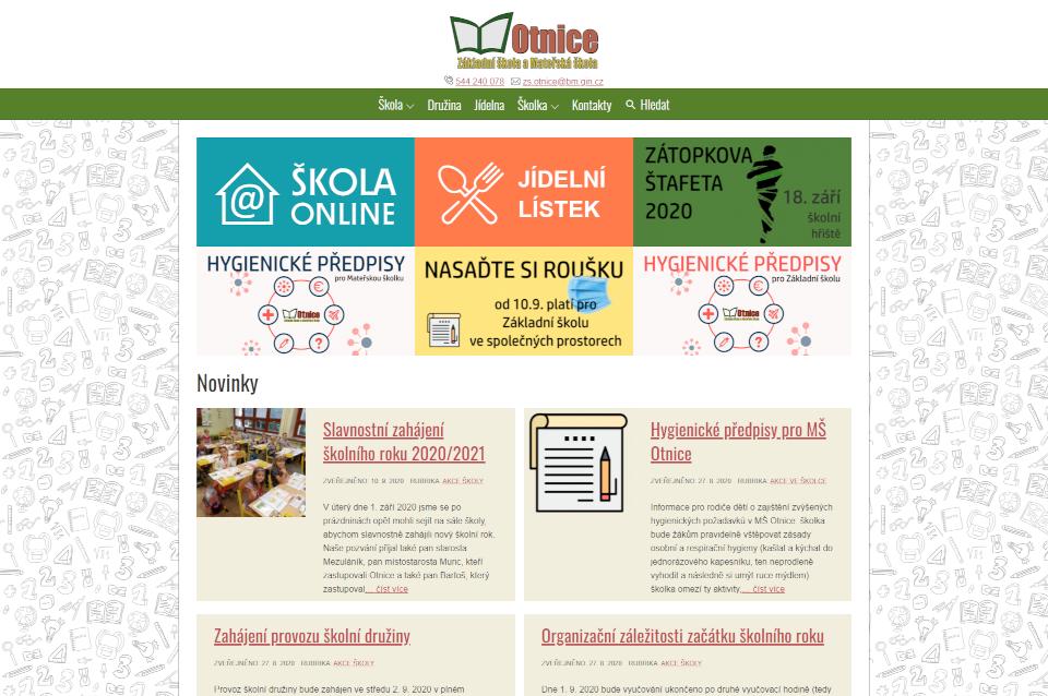 ZŠ a MŠ Otnice – Nový web základní a mateřské školy v Otnicích
