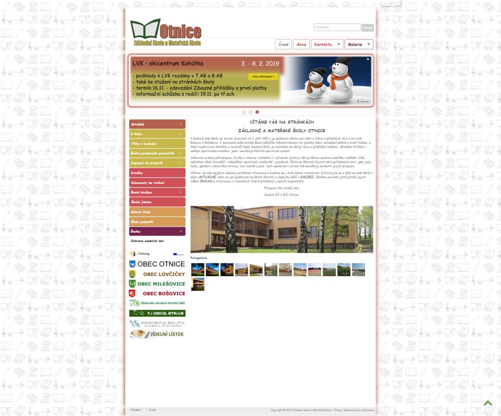 ZŠ a MŠ Otnice Původní web - Úvod - Základní škola a Mateřská škola - Otnice