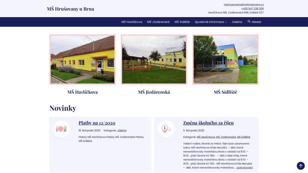 Přístupné webové stránky: MŠ Hrušovany u Brna