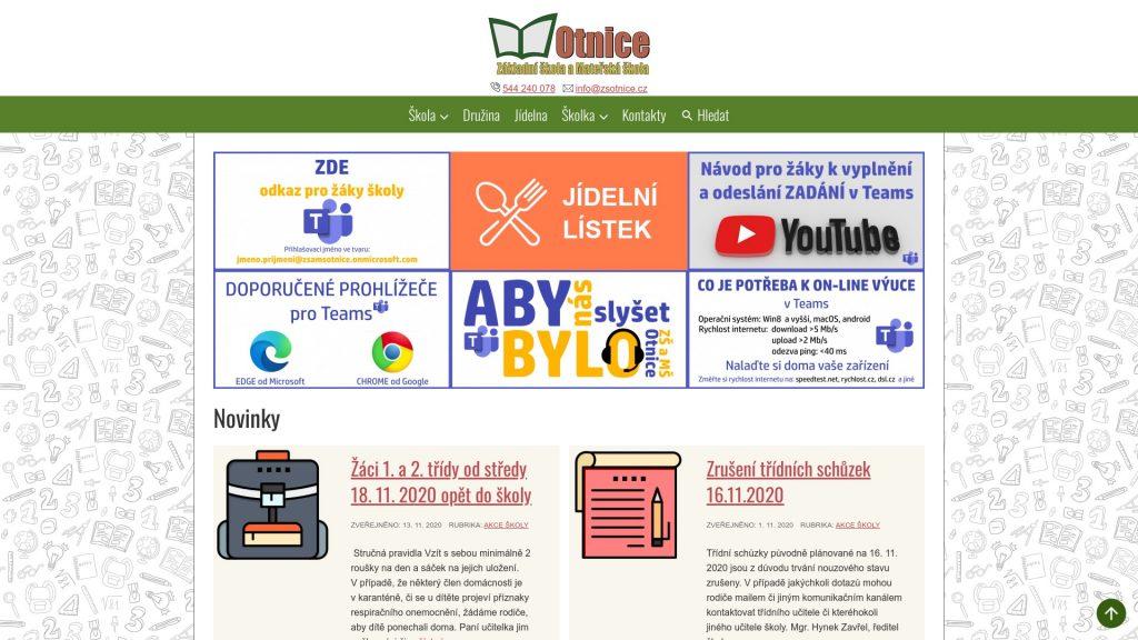 Přístupné webové stránky: ZŠ a MŠ Otnice