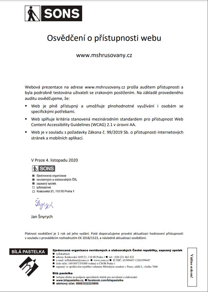 Osvědčení o přístupnosti webu mshrusovany.cz, SONS ČR