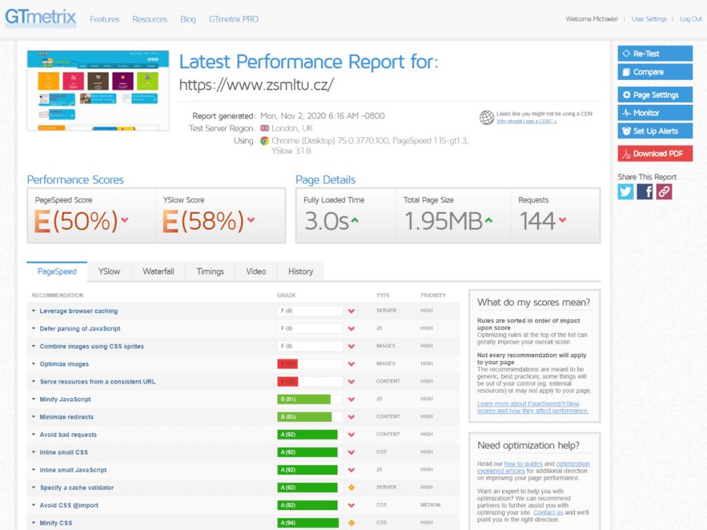 GTmetrix - skóre původního webu