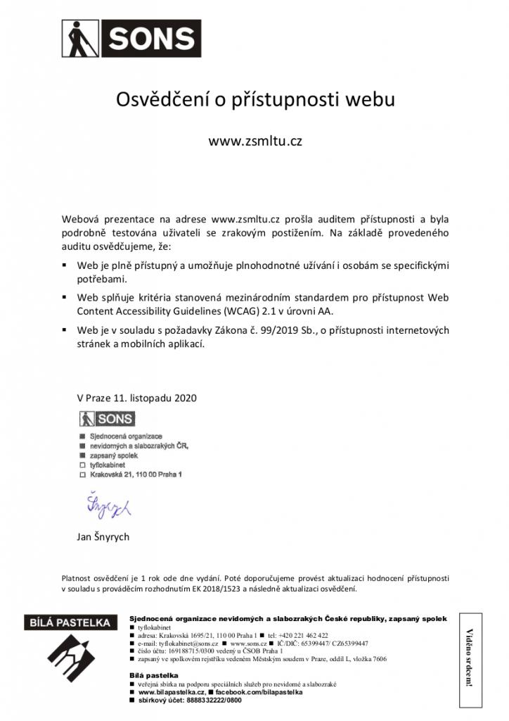 Osvědčení o přístupnosti webu  https://zsmltu.cz v úrovni AA od organizace SONS