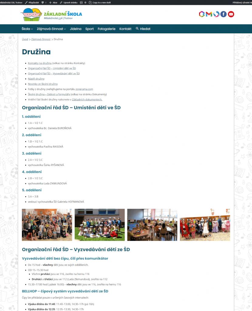 Stránka družiny, nový web