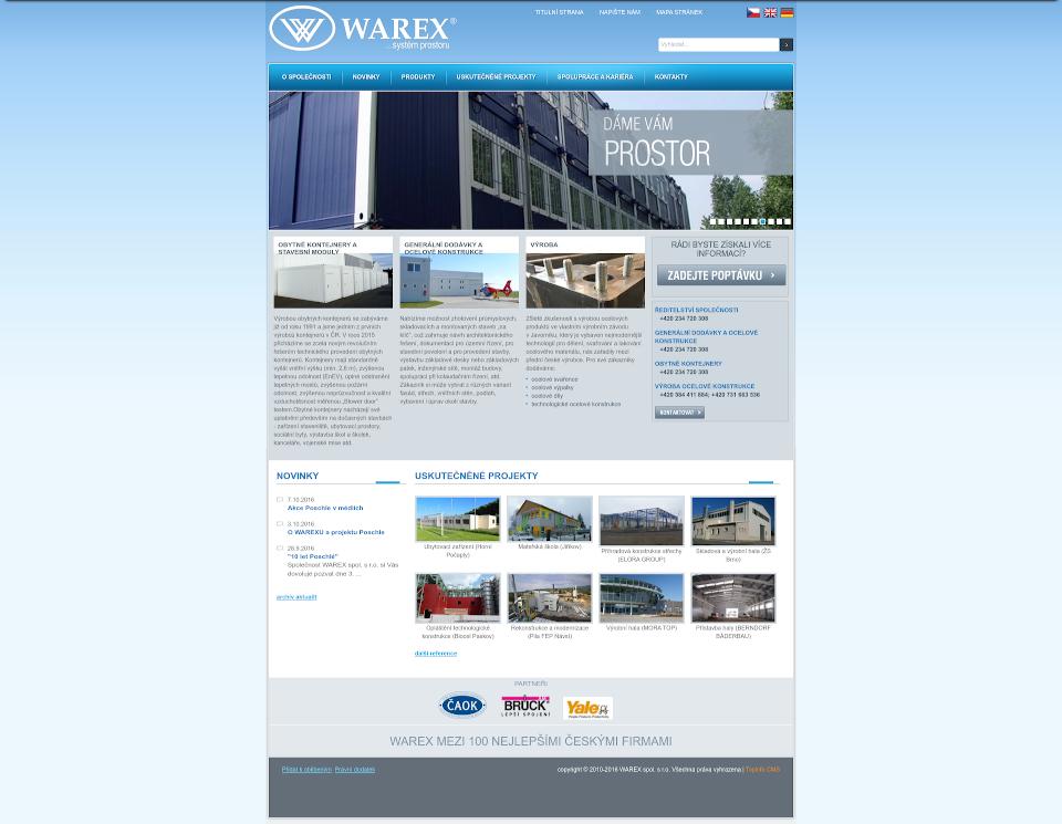 Webová stránka Warex před redesignem