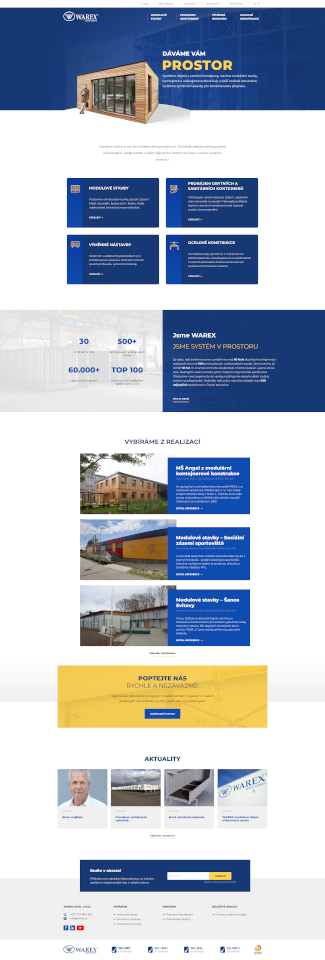 Webová stránka Warex po redesingu