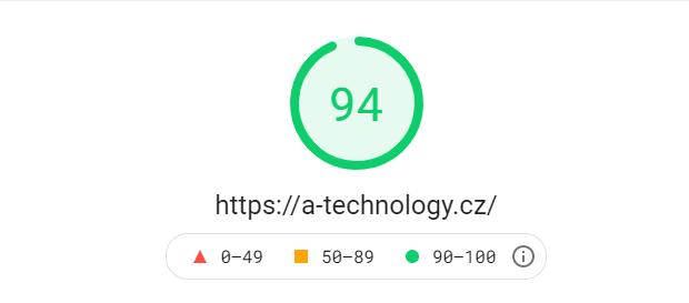 Rychlost webu A-technology 94 % na počítači